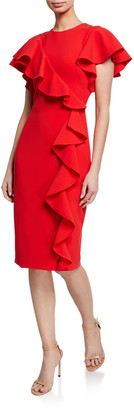 Theia Short-Sleeve Asymmetric Ruffle Cocktail Dress