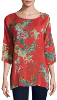 Johnny Was Malakye Dolman-Sleeve Floral-Print Top, Red