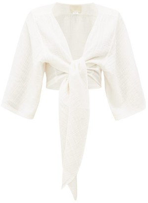 Anaak - Anneka Tie-front Cotton-gauze Blouse - Womens - Ivory