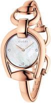 Gucci Women's Swiss Horsebit Diamond Accent Rose Gold-Tone PVD Bangle Bracelet Watch 28mm YA139508