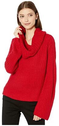 BB Dakota Love Actually Cowl Neck Sweater (Bright Red) Women's Sweater