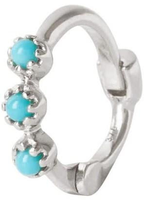 Zohreh V. Jewellery Mini Turquoise Trilogy Huggie Hoop Earring Sterling Silver