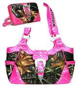 HBM Western Pink Camouflage Buckle Concealed Purse W Matching Wallet