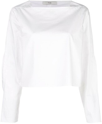 Tibi Poplin Boatneck Top