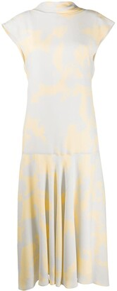 Proenza Schouler Brush Print cowl-back dress