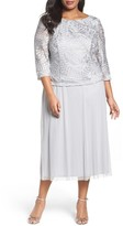 Alex Evenings 417197 Mock Two-Piece Embroidered Cowl Back Dress