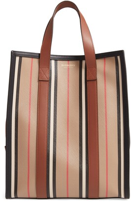 Burberry Small Book Icon Stripe E-Canvas North/South Tote