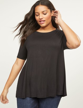 Lane Bryant Perfect Sleeve Swing Tee With Shirred Shoulders