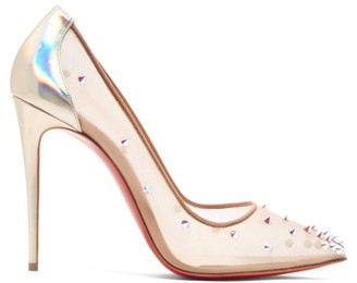 Christian Louboutin Degra 100 Crystal Stud-embellished Pumps - Nude