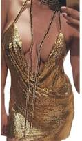 Fanvans Women's Sexy Halter sequins Sling V-necked Nightclub Dress M