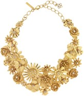 Oscar de la Renta Large Gilded Floral Necklace