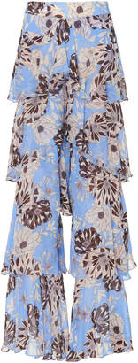 Alexis Elria Floral-Print Tiered-Flounce Pants