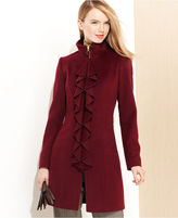 Tahari Coat, Kendra Ruffled Wool-Blend