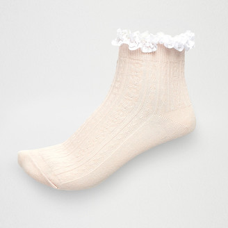 River Island Light pink cable knit frill ankle socks
