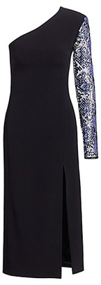 David Koma Embellished One Sleeve Pencil Dress