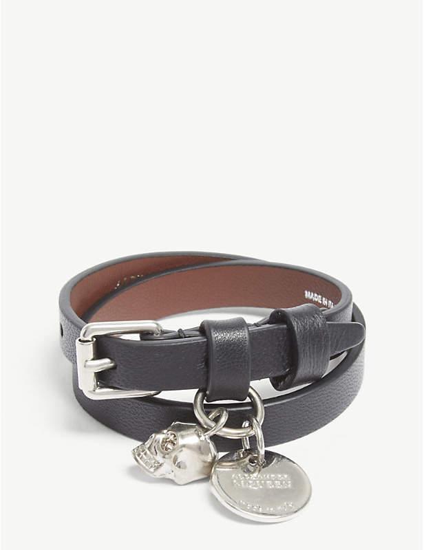 Alexander McQueen Skull double-wrap leather bracelet