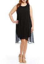 Vince Camuto Plus Sleeveless Chiffon Overlay Dress