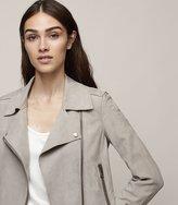 Reiss Raye - Bonded-suede Biker Jacket in Grey, Womens
