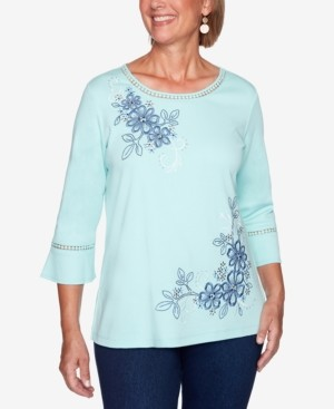 Alfred Dunner Petite Open-Trim Embroidered Top