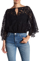Romeo & Juliet Couture Sheer Yoke Applique Pullover