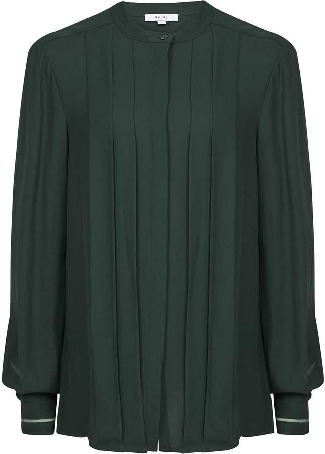 Reiss Nicole - Pleat Front Blouse in Dark Green