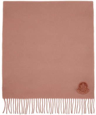Moncler Pink Wool Logo Scarf