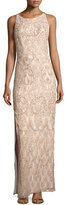 Aidan Mattox Sleeveless Beaded Lace Column Gown, Blush