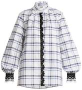 MSGM Lace-embroidered checked cotton shirt