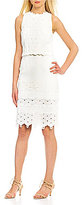 Antonio Melani Janis Crew Neck Sleeveless Jacquard & Lace Sheath Dress