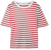 Alexander Wang Striped Slub Stretch-jersey T-shirt - Red