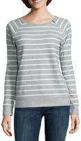 Liz Claiborne Long-Sleeve Zip-Shoulder Sweatshirt - Petite
