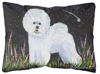 East Urban Home Bichon Frise Indoor/Outdoor Black/White Throw Pillow East Urban Home