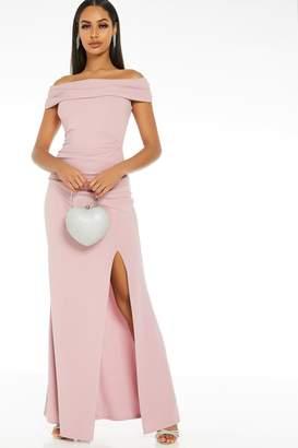 Quiz Mauve Bardot Split Maxi Dress