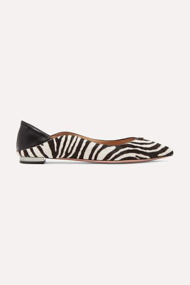 Aquazzura Zen Zebra-print Calf Hair Collapsible-heel Point-toe Flats - Zebra print