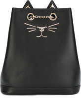 Charlotte Olympia Feline embroidered backpack - women - Calf Leather - One Size