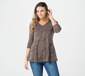Denim & Co. Animal Print 3/4 Sleeve V-Neck Fit & Flare Tunic Top
