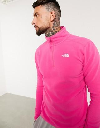 The North Face 100 Glacier 1/4 zip fleece in pink