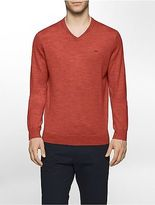 Calvin Klein Mens Solid Merino V-Neck Sweater