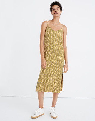 Madewell Side-Slit Slip Dress in Cutout Blooms