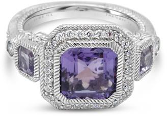 Judith Ripka Sterling Amethyst & Diamonique Ring