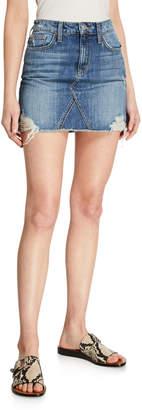 Joe's Jeans Frayed-Hem Denim Mini Skirt