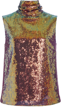Sally LaPointe Iridescent Sequin Draped Turtleneck Tank