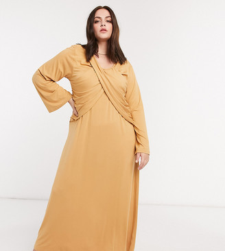 Verona Curve maxi dress with long sleeves and cross pleat detail in camel