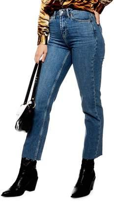 Topshop Raw Hem Straight Jeans 32-Inch Leg