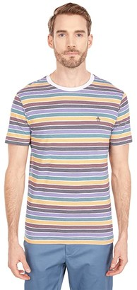 Original Penguin Multi Stripe Fashion Tee (Bright White) Men's Clothing