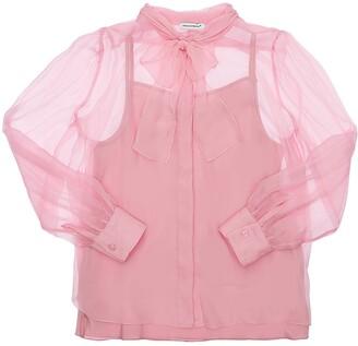 Dolce & Gabbana Silk Chiffon Shirt W/ Bow