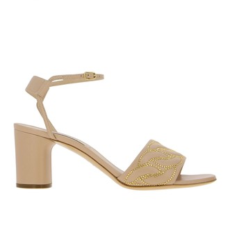 Casadei Sandal In Leather With Chain Studs