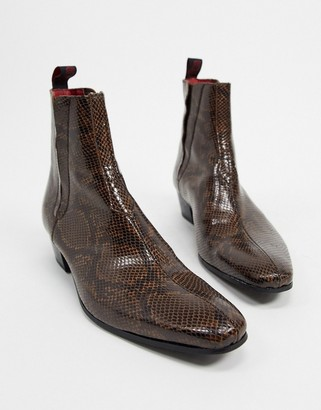 Jeffery West carlito cuban chelsea boots in brown snake print