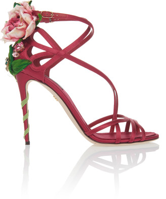 Dolce & Gabbana Floral-AppliquAd Satin Sandals