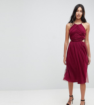 Asos Tall TALL Dobby High Neck Midi Dress With Cut Out Sides-Red